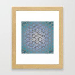 Hexagonal Dreams - Blue Turquoise Gradient Framed Art Print