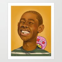 tyler the creator Art Prints featuring Tyler, The Creator by Karen Keller