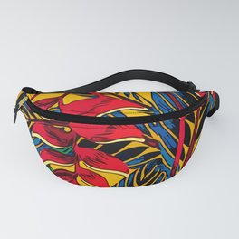 Jungle Glam Falling Leaves Blue Gold Fanny Pack