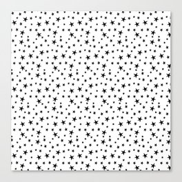 Mini Stars - Black on White Canvas Print
