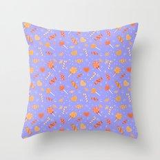 Sweet Candy Violet Orange pattern Throw Pillow