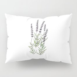 Lavender art print, ink and watercolor Pillow Sham