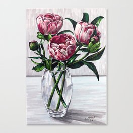 Peonies in a vase marers art Canvas Print