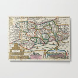Vintage Map of Switzerland (1747)  Metal Print