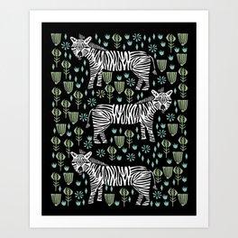 Zebra safari animal nature art screen print by andrea lauren Art Print