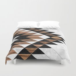 Urban Tribal Pattern No.9 - Aztec - Concrete and Wood Bettbezug