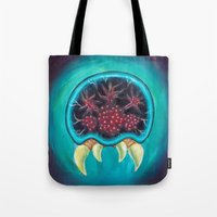 metroid Tote Bags featuring Metroid by Katie Clark Art