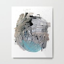 Riptide: an abstract mixed media piece in black, white, brown and blue Metal Print