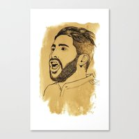 real madrid Canvas Prints featuring Sergio Ramos - Real Madrid - Spain - Footballer by Matty723
