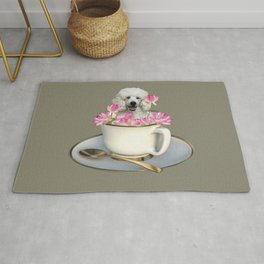 Coffee Cup with Poodle and Lotus Flowers Rug