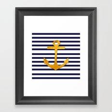 Marine pattern- blue white striped with golden anchor Framed Art Print