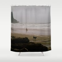 oregon Shower Curtains featuring Oregon Coast: I // Oregon by Corrie Mick