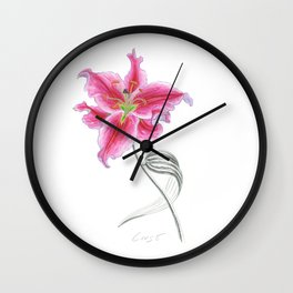 Lily 02 Botanical Flower * Pink Stargazer Rubrum Lily  Wall Clock