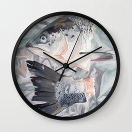 Salmon on Foil Still Life Wall Clock