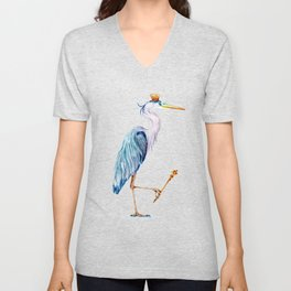Royal Blue Heron Unisex V-Neck