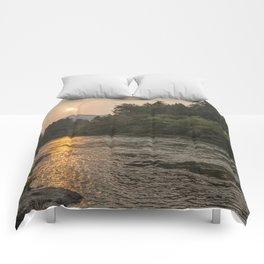 Fire Sunrise on McKenzie River Comforters