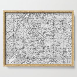 Vintage Map of Brussels (1905) BW Serving Tray