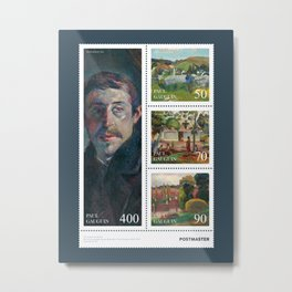 Paul Gauguin - Sheet of stamps dedicated to french post-impressionist artist (Issue 20-002) Metal Print