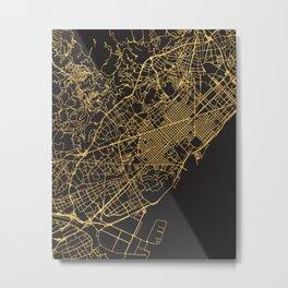 BARCELONA SPAIN GOLD ON BLACK CITY MAP Metal Print