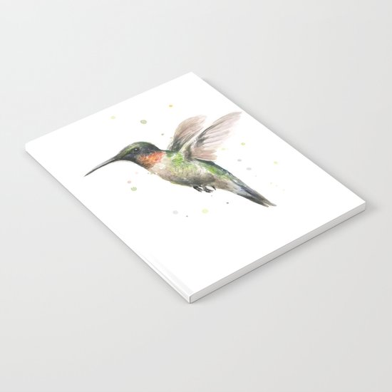Hummingbird Watercolor Bird Animal Ruby Throated Notebook