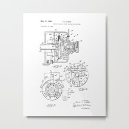 Sewing Machine Power Transmission System Vintage Patent Hand Drawing Metal Print
