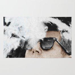 Cigar Smoker Cigar Lover JFK Gifts Black And White Photo Tee Shirt Rug