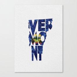 Vermont Typographic Flag Map Art Canvas Print
