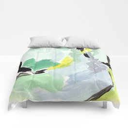 Twirl Green: Abstract Painting Comforters