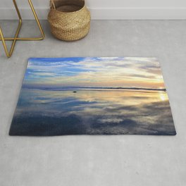 Blues and Oranges at Sunset with Reflections on the Shore by Reay of Light Rug