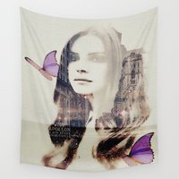 lana Wall Tapestries featuring Softy (Lana) by Kiki collagist
