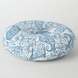 Blue ethnic ornate floral paisley pattern Floor Pillow