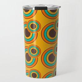 1970's Retro Circles Design Orange Brown & Blue Travel Mug