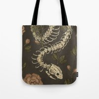 snake Tote Bags featuring Snake Skeleton by Jessica Roux