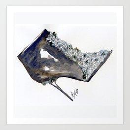 Black Boot Accessory Fashion Watercolor Art Print