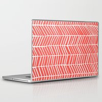 herringbone Laptop & iPad Skins featuring Coral Herringbone by Cat Coquillette