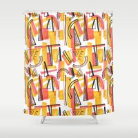 friday Shower Curtains featuring Friday by The Patternbase
