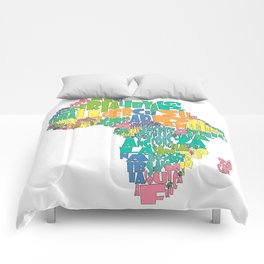 African Continent Cloud Map In Pastels Comforters