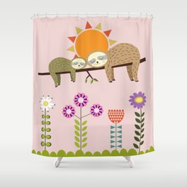 Sleeping Baby & Mother Sloths Shower Curtain