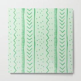 Moroccan Stripe in Green Metal Print