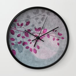 Pink Moon and leaf illustration Wall Clock