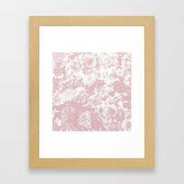 Girly trendy pink coral white lace floral Framed Art Print