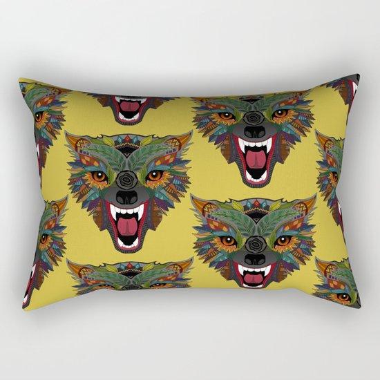 wolf fight flight ochre Rectangular Pillow