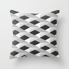 3d Shapes decor 7. minimalist. line. grey. silver. black. white. Throw Pillow
