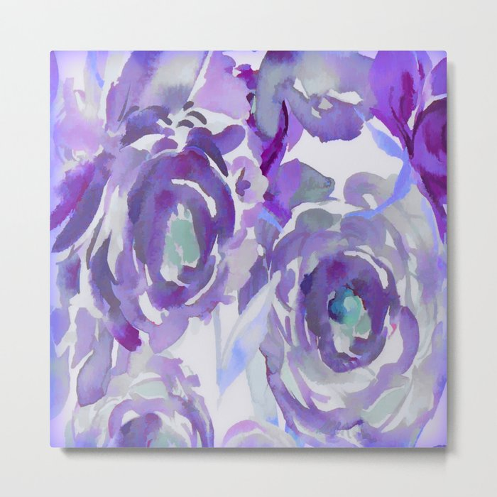 Purple Haze Painterly Floral Abstract Metal Print