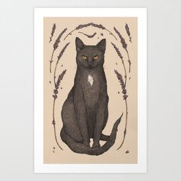 The Cat and Lavender Art Print