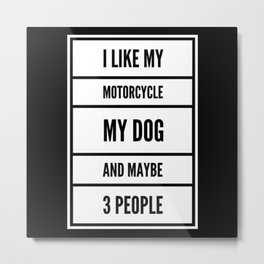 I Like MY Motorcycle My Dog And Maybe 3 People Metal Print