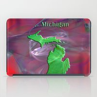 michigan iPad Cases featuring Michigan Map by Roger Wedegis