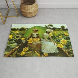Spectacular 'Yellow Lotus Lilies' Floral Lily Pond portrait painting Charles Courtney Curran Rug