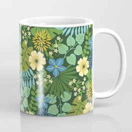 Tropical Blue and Yellow Floral Coffee Mug