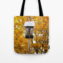 Birdhouse in Fall Tote Bag